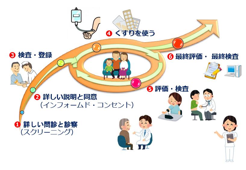 一般的な治験・臨床試験の流れ